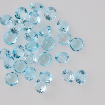 Natural Sky Blue Topaz AAA Quality 3.5 mm Faceted Round Shape 25 pcs LOt Loose Gemstone