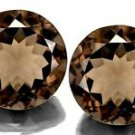 Certified Natural Smoky Quartz AAA Quality 5.5 mm Faceted Round Shape Pair Loose Gemstoe