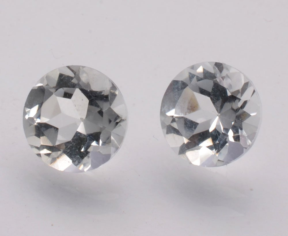 Certified Natural White Topaz AAA Quality 8 mm Faceted Round Shape Pair Loose Gemstone