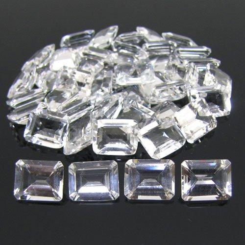 Certified Natural White Topaz AAA Quality 8x6 mm Faceted Octagon Shape 25 pcs Lot Loose Gemstone