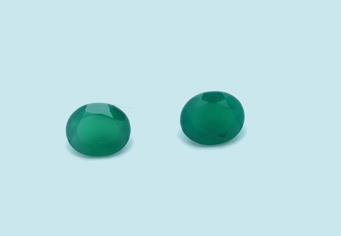 Certified Natural Green Onyx AAA Quality 9x7 mm Faceted Oval Shape Pair Loose Gemstone