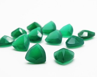 Certified Natural Green Onyx AAA Quality 7 mm Faceted Trillion Shape Pair Loose Gemstone