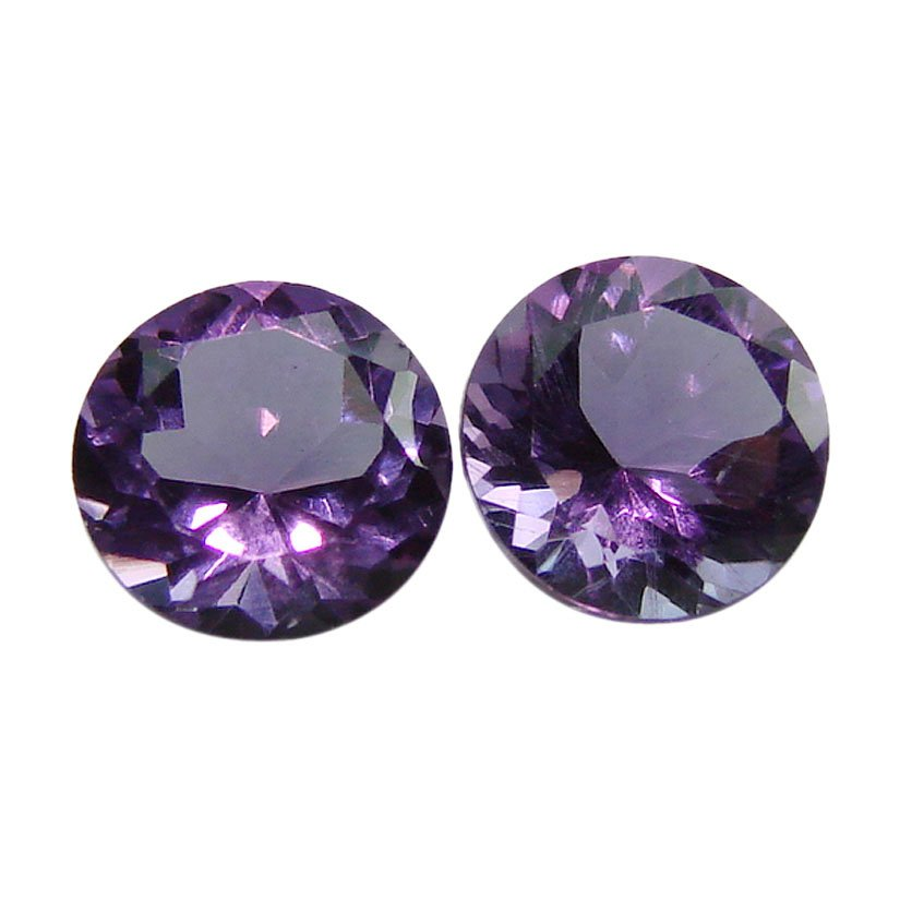 Certified Natural Amethyst AAA Quality 9 mm Faceted Round Shape Pair Loose Gemstone