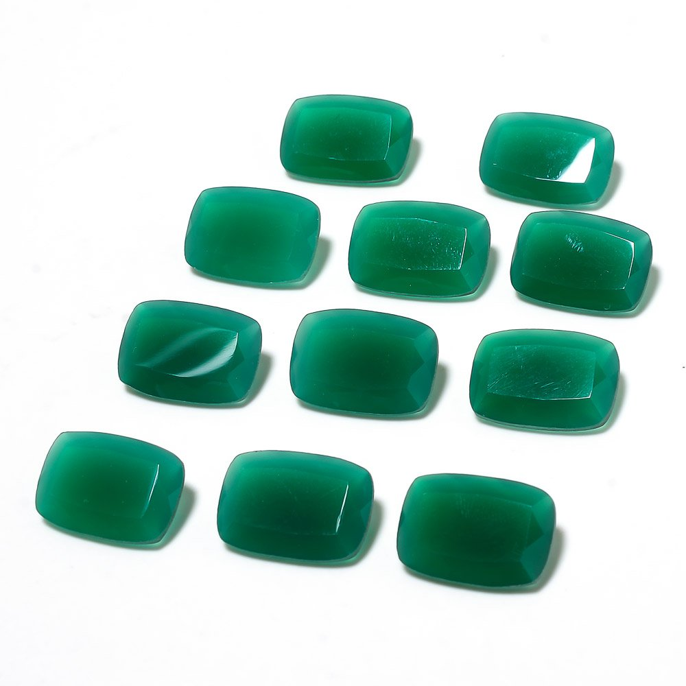 Certified Natural Green Onyx AAA Quality 18x13 mm Faceted Octagon Shape 10 pcs Lot Loose Gemstone