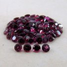 Certified Natural Rhodolite AAA Quality 2 mm Faceted Round Shape 50 pc Lot Loose Gemstone