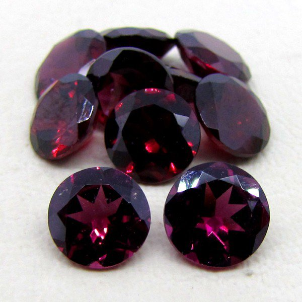 Certified Natural Rhodolite AAA Quality 5 mm Faceted Round Shape 50 pc Lot Loose Gemstone
