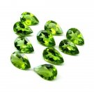 Certified Natural Peridot AAA Quality 6x4 mm Faceted Pears Shape Pair Loose Gemstone