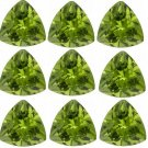 Certified Natural Peridot AAA Quality 4 mm Faceted Trillion Shape 10 pcs Lot Loose Gemstone