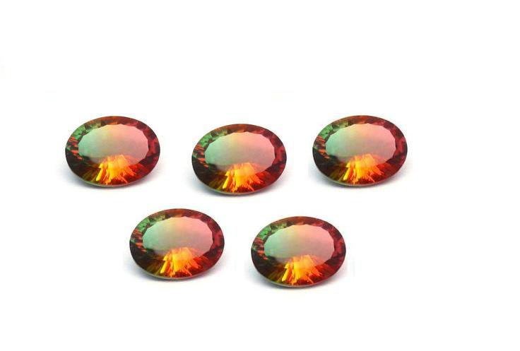 Certified Quartz Doublet Bi Color AAA Quality 12x10 mm Faceted Oval Shape 5 pcs lot Loose Gemstone