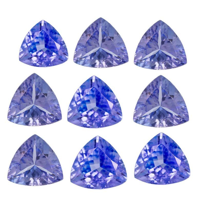 Certified Natural Tanzanite AA Quality 6 mm Faceted Trillion 10 pcs lot loose gemstone