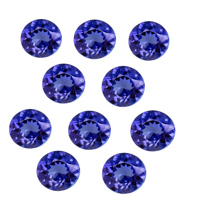 Certified Natural Tanzanite AAA Quality 7 mm Faceted Round 10 pcs lot loose gemstone