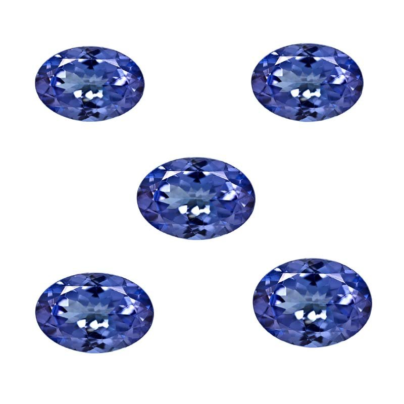 Certified Natural Tanzanite AAA Quality 7x5 mm Faceted Oval 5 pcs lot loose gemstone