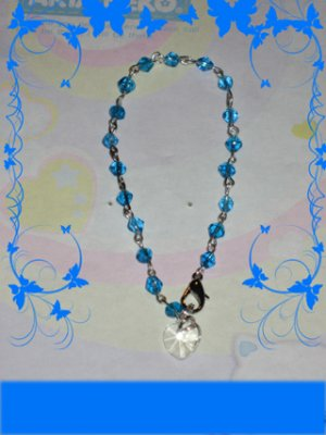 blue bracelet with crystal pendant