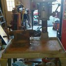 VINTAGE BUFFALO DUAL HEAD DRILL PRESS on heavy cast table steampunk