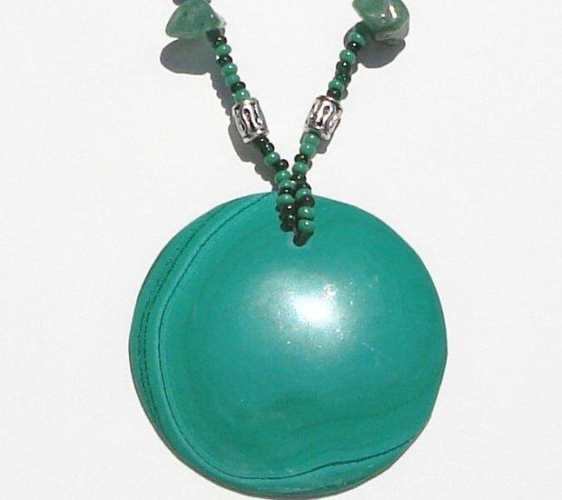 Handmade Malachite and Jade necklace
