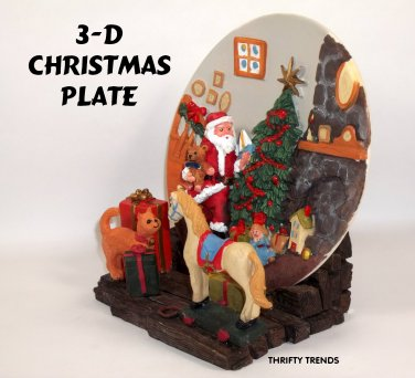 Vintage 1997 ~ A Christmas Remembered 3D Plate & 4-D Base ~ New Old Stock