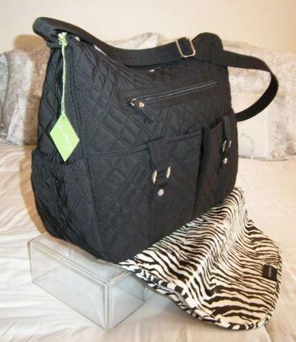 Vera Bradley Baby Bag black microfiber diaper weekender NWT Retired