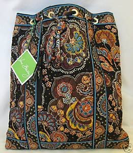Vera Bradley Backsack in Kensington brown  drawstring tote  NWT Retired boho
