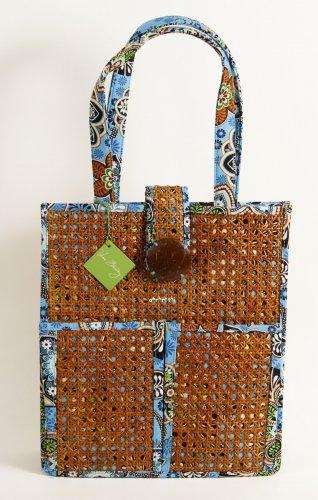 Vera Bradley Tiki Tote Bali Blue laptop portfolio travel shoulder bag NWT Retired