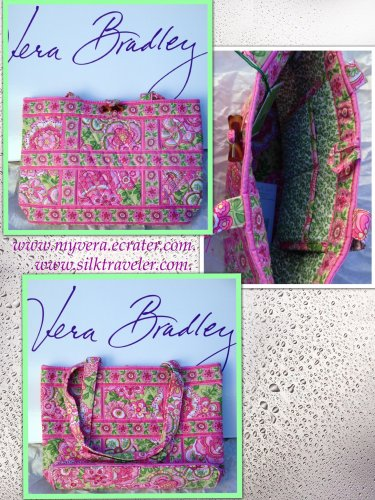 Vera Bradley Small Tic Tac Tote handbag Petal Pink NWT Retired /nice for e-reader, tablet