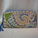 Vera Bradley Travel Organizer Capri Blue zip around wallet   Retired NWT boarding passport