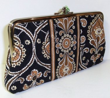 Vera Bradley Clutch Wallet Caffe Latte kisslock organizer Retired