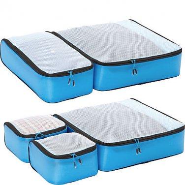 eBags Ultralight Packing Cubes - Aquamarine Turquoise Blue Super Packer 5pc Set travel organizers