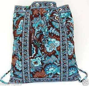 Java Blue Backsack  Vera Bradley drawstring backpack laundry knitting bag  retired NWT