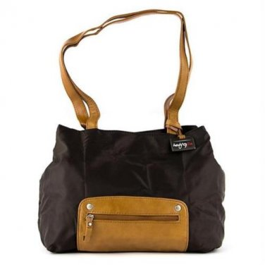Travelon Twenty9Five Piegare Mini Tote  � Brown fold-up travel shoulder bag nylon leather accents