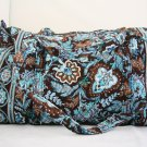 Vera Bradley Large Duffel Java Blue original pattern satchel weekend overnight carryon  Retired RARE