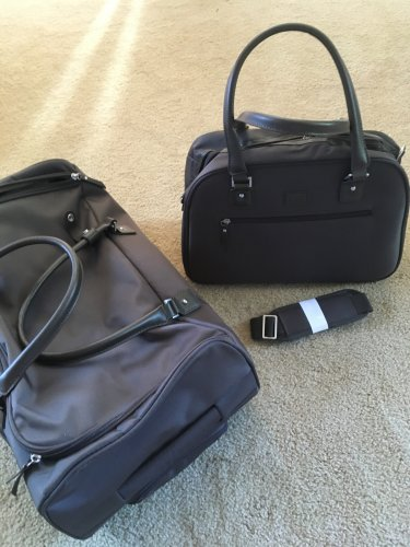 Travelsmith TSO Carry-On Duffel + Satchel boarding bag rolling luggage Espresso brown  travel