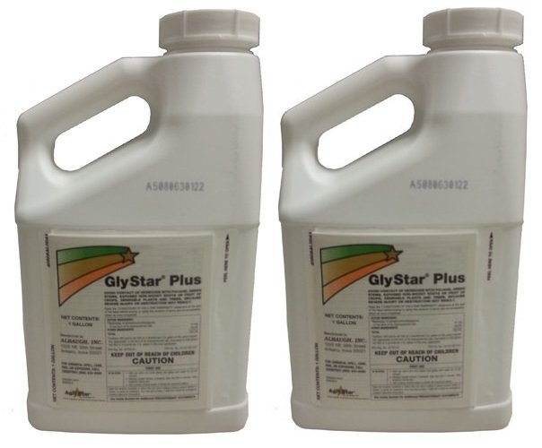 (2) 1 GAL JUG-GLYSTAR PLUS CHEMICAL HERBICIDE-41% GLYPHOSATE-CONCENTRATE BRUSH WEED GRASS KILLER