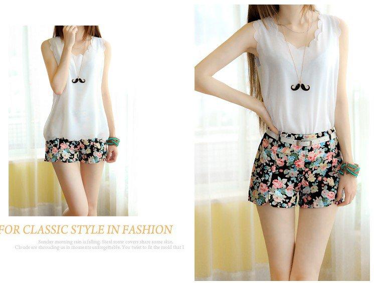 spring Slim thin sweet pastoral style floral print shorts shorts