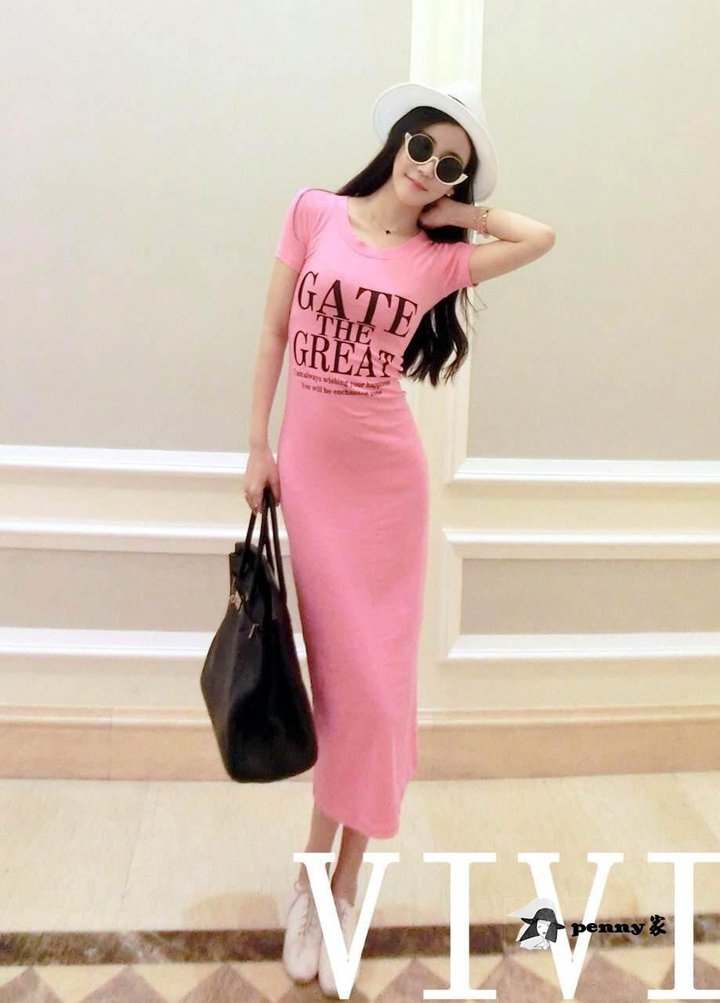 Pink Korean summer cotton round neck letters printed short sleeve dress Slim hip casual dress