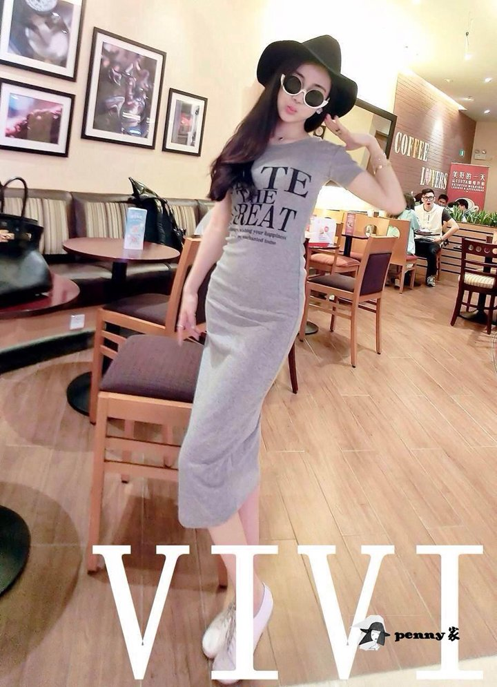 Grey Korean summer cotton round neck letters printed short sleeve dress Slim hip casual dress