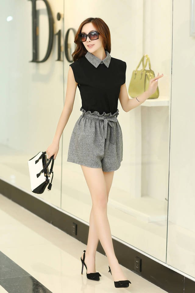 Black Summer new Korean Women sleeveless chiffon shirt with grey short
