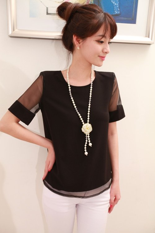 Women black chiffon short sleeve lace blouse