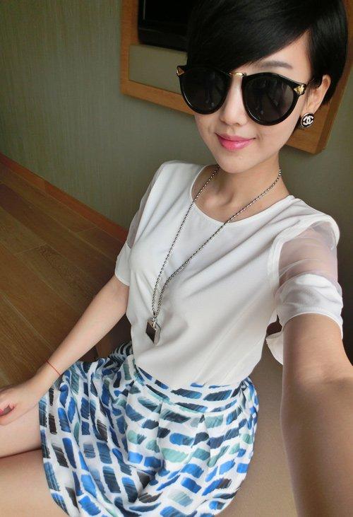 Women white chiffon short sleeve lace blouse