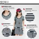 Black and white Slim thin striped cotton short-sleeved dress