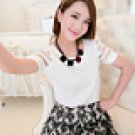 Korean women's casual short-sleeved round neck chiffon
