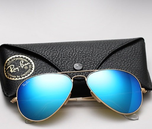 Ray Ban Aviator RB3025 Sunglasses 112/17 Matte Gold with Blue Mirror Lens