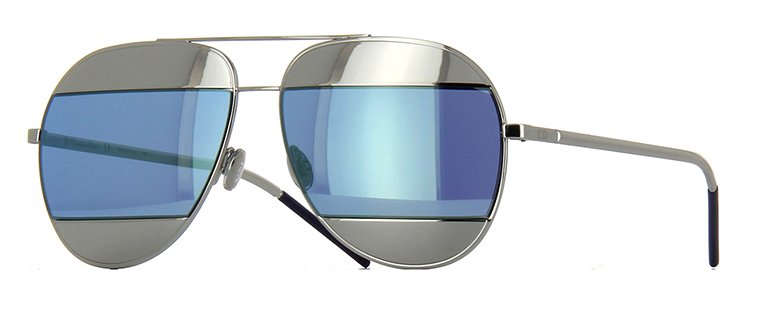 Christian Dior Split 1 Sunglasses In Silver and Blue Mirror Lens 0103J