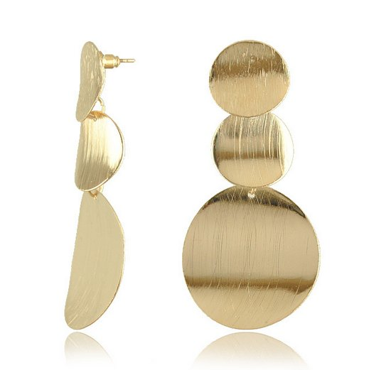 Three Dots Gold Earrings