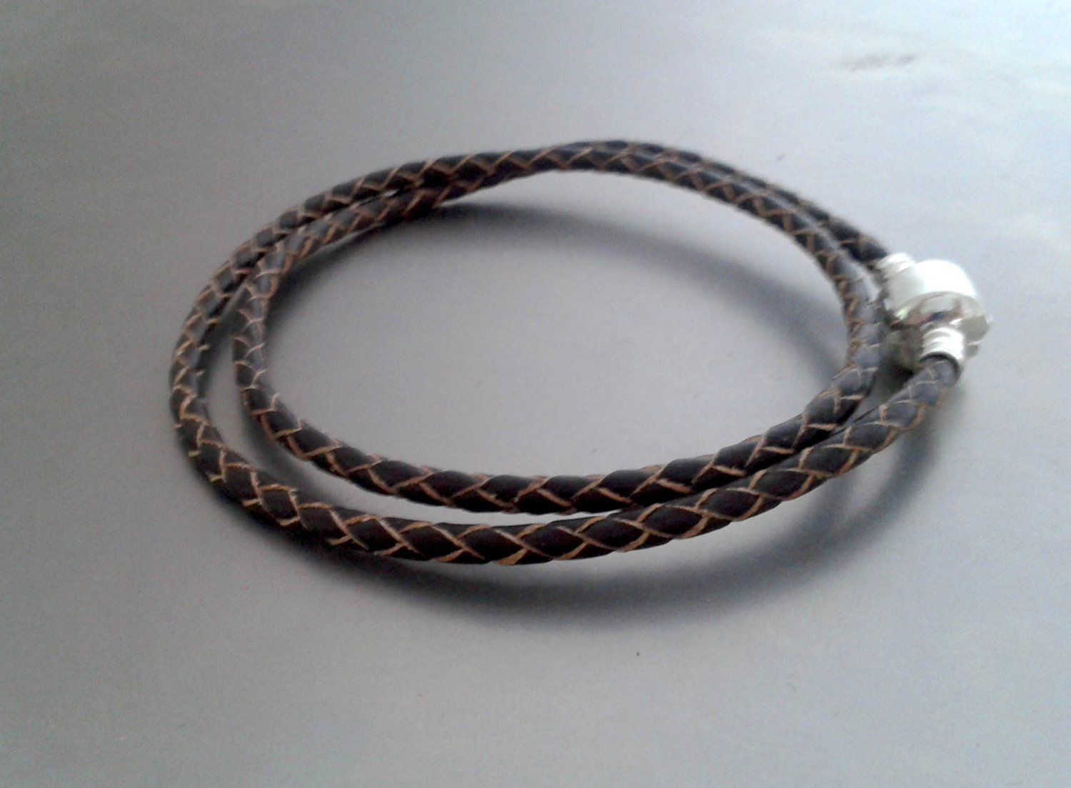 Braided Leather Bracelet With Snap Charm Closure