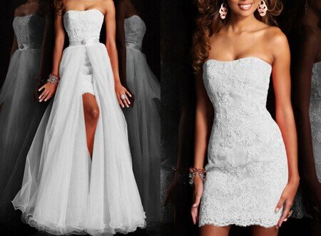 Strapless Appliques Detachable Skirt convertible lace wedding dress