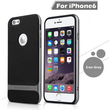 Rocks iPhone 6+ Plus TPU/PU Protective Back Case Iron Grey