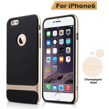 Rocks iPhone 6+ Plus TPU/PU Protective Back Case Gold Color