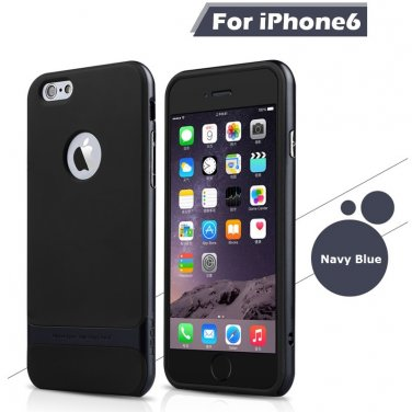 Rocks iPhone 6+ Plus TPU/PU Protective Back Case Navy Blue Color