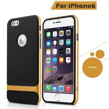 Rocks iPhone 6+ Plus TPU/PU Protective Back Case Orange Color