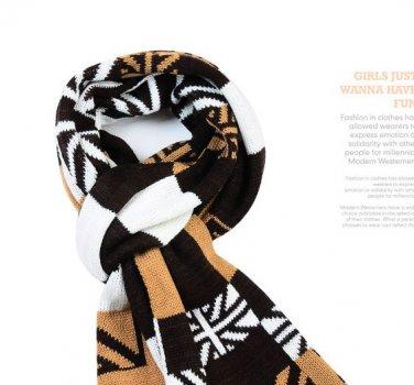 Union Jack UK Plaids Check Woolen Knit Wrap Shawl Scarf Coffee color
